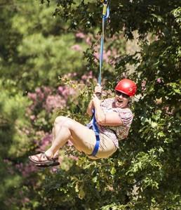 Teen Reach Zip Lines at Camp Thunderbird!